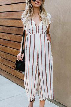 Maternity Casual V Neck Short Sleeve Stripe Jumpsuit – loveinbabe