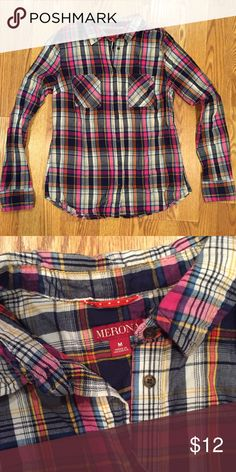 Plaid button down Love the colors of this cute button down! Perfect for fall :) Merona Tops Button Down Shirts