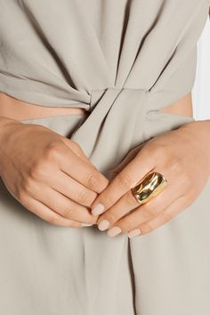 Jennifer Fisher | Crinkle gold-plated ring | NET-A-PORTER.COM