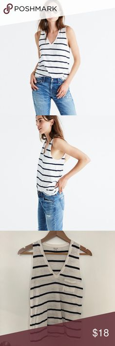 Madewell V-Neck Pocket Tank in Creston Stripe Excellent condition. PRODUCT DETAILS Our best-selling V-neck pocket tee returns in a warm weather-friendly tank version (we know, it's about time). Fashioned of light and airy slub cotton, this striped top is live-in-it soft and perfectly draped—one to tell your friends about, in other words.  True to size. Cotton. Machine wash. Import. Item G6508. Madewell Tops Tank Tops