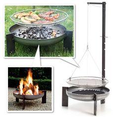 Manufactum Schwenkgrill Rohstahl (Raw steel pivot grill) and Feuerschale Rohstahl (Crude steel fire bowl) - great, simple design - beautiful details!