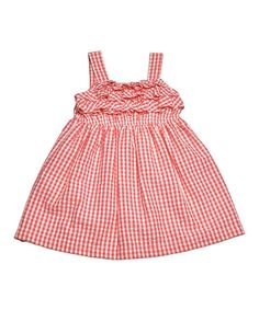 Another great find on #zulily! Coral Gingham Ruffle Swing Dress - Infant, Toddler & Girls #zulilyfinds