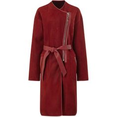 Dlux Burgundy Reversible Merino Lambskin Coat (135.870 RUB) ❤ liked on Polyvore featuring outerwear, coats, jackets, red collarless coat, lambskin leather coat, reversible coat, collarless coat and lamb leather coat