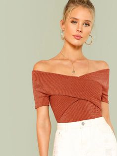 Casual Plain Slim Fit Off the Shoulder Short Sleeve Pullovers Orange Crop Length Wrap Design Bardot Ribbed Top Romwe, Look Fashion, Fashion Outfits, Fashion Ideas, Men Fashion, Stylish Outfits, Fashion Black, Fashion Brands, Fashion Styles