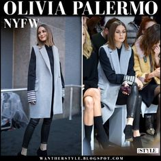 Olivia Palermo in light blue sleeveless coat, black leather pants and ankle boots Olivia Palermo Outfit, Olivia Palermo Lookbook, Olivia Palermo Style, Black Leather Pants, Leather Leggings, Nyfw Style, Vest Outfits, Sport Outfits, Sleeveless Coat