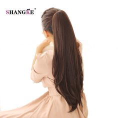 SHANGKE Long Straight Ponytail Claw Drawstring Ponytail Heat Resistant Clip In Hair Extensions Hair Tail Fake Hairpieces Afro, Hair Extension Clips, Drawstring Ponytail, Ponytail Hair Extensions, Straight Ponytail, Mild Shampoo, Natural Hair Styles, Long Hair Styles, Ponytail Hairstyles