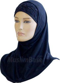 Hijab - Two Piece - Black - Beads http://www.muslimbase.com/clothing/hijabs/two-piece-hijab/hijab-piece-black-beads-p-4053.html