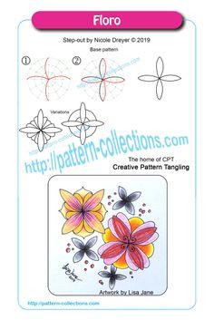 Floro by Nicole Dreyer Doodle Zen, Tangle Doodle, Doodles Zentangles, Doodle Patterns, Zentangle Patterns, Simple Doodles, Oil Painting Abstract, Oil Paintings, Zen Art