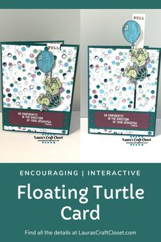 No matter what you are accustomed to, it's still important to go in the direction of your dreams. This floating turtle is doing just that on a pull-tab encouragement card! November Challenge, Wink Of Stella, Interactive Cards, Cat Cards, Congratulations Card, Digital Stamps, Imagination, Craft Supplies