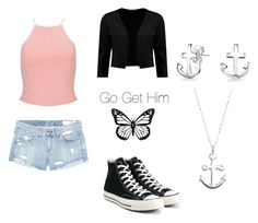 """Go Get Him"" by glamour-guru ❤ liked on Polyvore featuring Miss Selfridge, rag & bone/JEAN, Boohoo, Converse, Bling Jewelry, Primrose, mara and TeamInsaneCanon"
