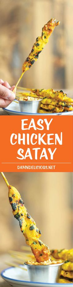 Easy Chicken Satay - Save money (and calories) on takeout with this easy peasy homemade version! And that peanut dipping sauce is OUT OF THIS WORLD amazing.