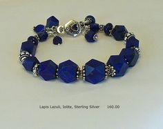 Lapis Lazuli, Iolite and Sterling Silver Bracelet  One of a Kind and Handmade by A. Denise Rollings-Martin  www.lilygirlart.com or www.etsy.com/listing/151509201/lapis-lazuli-and-sterling-silver    $160.00