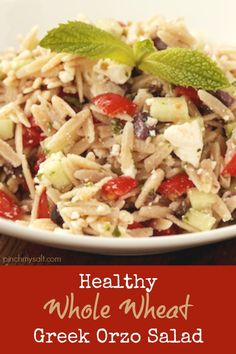 with feta is a delicious pasta salad recipe made with whole wheat orzo ...