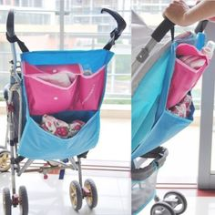 Toddler Baby Carriages Pram Stroller Storage Bag 100% Brand new and high quality Baby pram stroller storage bag Great for a good walk out as it has a great storage bag and pocket to place things in. With this accessory, you can carry all your baby essentials which is very convenient and practical. Secure section for your personal items like your phone, keys and wallet. 1 big open pocket, 1 button pocket, and 1 drink holder on the right of the bag for easy access. With adjustable magic tape…