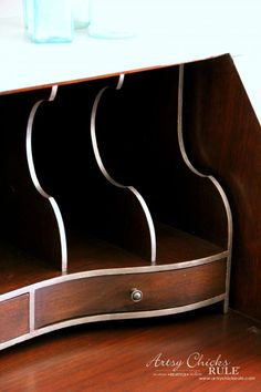 Secretary Desk Makeover (Chalk Paint® by Annie Sloan) - GOLD on the interior details 1 - #MadeItMyOwn #sp #chalkpaint artsychicksrule