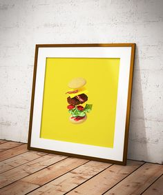 Cheeseburger Printable Art  Minimalist Food Poster  Tasty