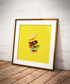 Cheeseburger Printable Art  Minimalist Food Poster  Tasty
