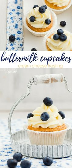 Easy and delicious buttermilk cupcakes with cream cheese frosting, old-fashioned cupcakes with a bit of modern flair. Top it with whatever fresh fruit is in season, or even some sprinkles or chocolate shavings. These cakes are a little piece of heaven.