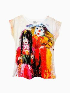 Artistic Female T-shirt  Clowns HIGH QUALITY by ArtEgoDesigns
