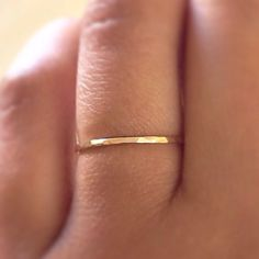 Gold Stack RIng,14k Gold Filled Stacking Ring, Gold Band Ring, Hammered Gold Ring, Minimalist Jewelry Only 10$!