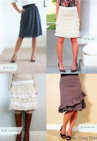 Skirts DIY - All four tutorials to make these cute skirts - pretty easy too!