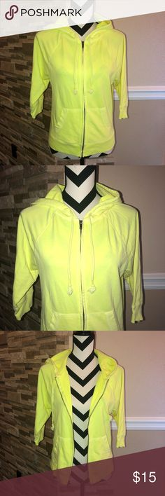 Mossimo Neon Green Zip Up Hoodie Good condition Mossimo Supply Co Sweaters