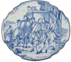 """Delft Blue Plaque - 18th century - Depicting the Parable of the `Prodigal Son´ as in Luke 15: 13""""Not long after that, the younger son got together all he had, set off for a distant country and there squandered his wealth in wild living."""" We can see elegantly dressed men shaking hands and climbing on their horses and a woman on a platform - (height) 31.00 cm (width) 35.00 cm"""