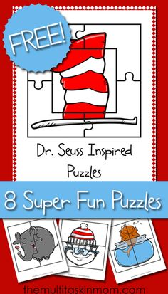Seuss Inspired Puzzles Dr Seuss Insp Puzzles – 8 Super Fun Puzzles That Your Children Are Going To Love Putting Together Over and Over Again Dr Seuss Activities, Preschool Themes, Classroom Themes, Sequencing Activities, Children Activities, Preschool Classroom, Future Classroom, Dr Seuss Week, Dr Suess