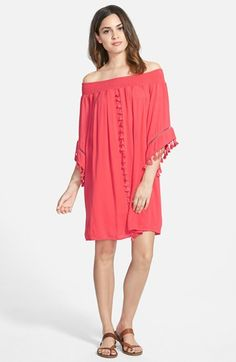 Fire Tassel Trim Off the Shoulder Dress (Juniors) available at #Nordstrom