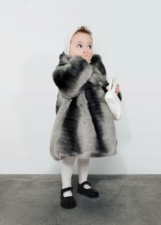 Adorable fake fur coat from Omamimini kidswear from LA for winter 2013