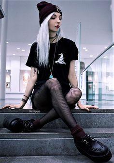 Beanie hat, choker, black shirt, shorts, oversized fishnet stocking & creepers shoes by kimiperi