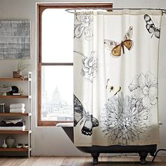 use cool shower curtains for window curtains --- depending on length of windows...