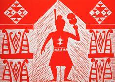 Cerisse Palalagi, Wikitoria, Relief/Lino on 250 x 305 mm paper, from an edition of 20, 2009. NZ$245 incl GST. Maori Designs, Maori Art, Cultural Identity, London Art, Art Festival, Printmaking, Paper Art, Hand Weaving, Art Gallery