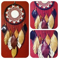 Earthy Dream Catcher w leather feathers FREE by CosmicAmerican, $65.00