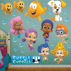 Bubble Guppies Wall Sticker Gil Molly Goby Deema Oona Nonny   HUGE | LARGE | SMALL Removable Art Decor Game logo Mural View Kids Vinyl