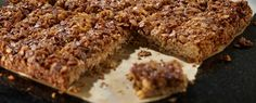 Chewy flapjack with little chunks of chocolatey delight.