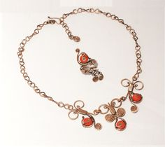 Copper jewelry set coral jewelry set-coral by BeyhanAkman on Etsy