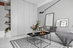 Gorgeous gray. I also like the rug and storage solution.