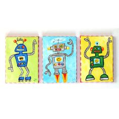 Kids Wall Art, Happy Robot Trio, Three 5x7 Acrylic Canvas, Childrens Wall Art for Boys Rooms, Nursery Decor