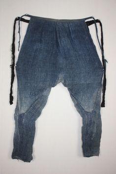 Japanese antique boro Indigo dye Thick hemp tattsuke-Pants Noragi