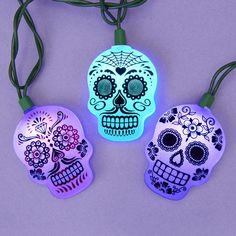 Dia de los Muertos Sugar Skull String Lights Day of the Dead Christmas Tree