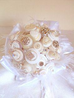 Button bouquet! My Fair Bridal Button Bouquet non floral non traditional by angel9, $175.00