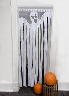 We think this Ghost streamer panel is the most awesome Halloween curtain ever! Absolutely a must-have for any haunted house. DETAILS – Panel measures x – Rod slots – Can be used indoors or outdoors – Made in t Entree Halloween, Halloween Door Decorations, Homemade Halloween, Halloween Crafts For Kids, Halloween Birthday, Halloween Party Decor, Holidays Halloween, Scary Halloween, Easy Decorations