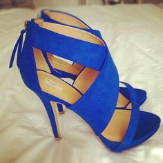 Blue heeled sandals,latest shoes ideas.