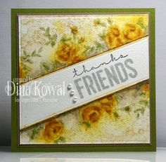 """Dina Kowal: Mama Dini's Stamperia: Impression Obsession DT Challenge: The gift of friendship - 8/21/14 (watercolor stamping/ creating white area with """"frog tape"""" from hardware store)."""