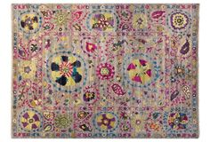 9'x12' Sari Wool Suzani Rug, Gray