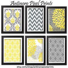 Floral Digital Print Wall Art Yellow Grey Vintage / Modern inspired Wall Art -Set of (6) - 8x11 Prints -   (UNFRAMED). $55.00, via Etsy.