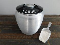 Sale 30% Off  Vintage 1950's Kromex Aluminum Flour by JunketteLove