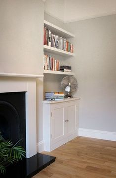 The Shelving Company: Alcove Cupboard & Floating Alcove Shelves in Marylebone - Model Home Interior Design Living Room Cupboards, Alcove Cupboards, Built In Cupboards, Alcove Ideas Living Room, Living Room Storage, Living Room Designs, Alcove Storage, Alcove Shelving, Hallway Shelving