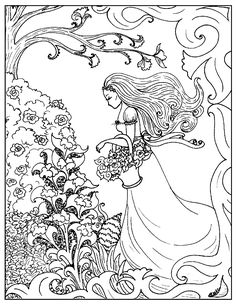 Art nouveau coloring page flower girl id 73840 : Uncategorized …